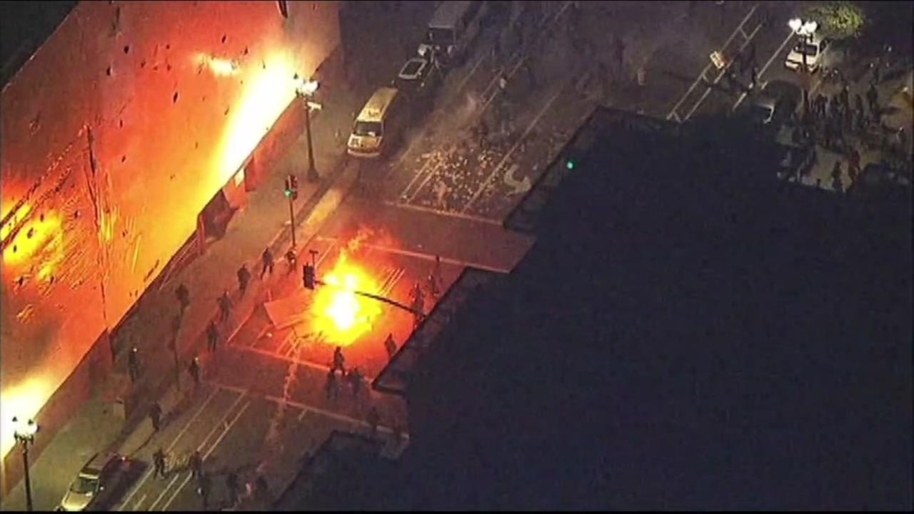 This is an undated image of protests in Oakland following the 2016 election.