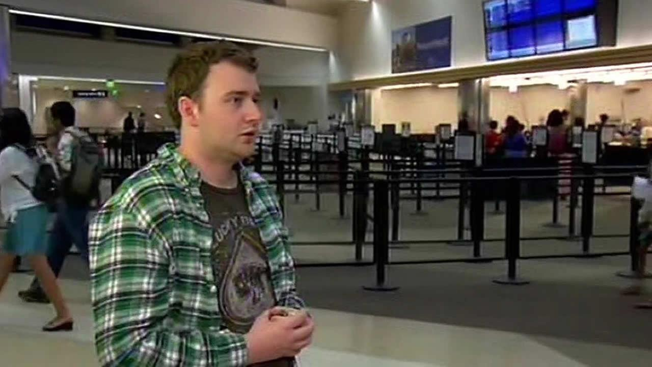 College student Trevor Padree at the San Jose Airport