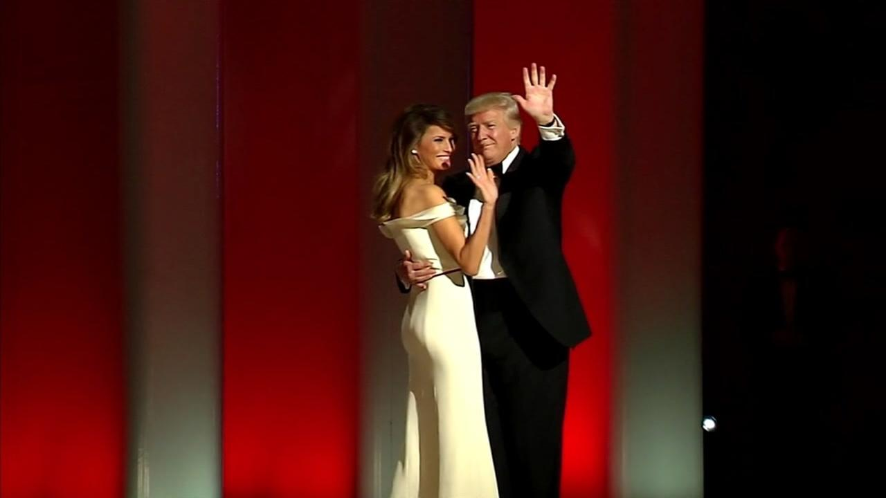 President Donald Trump and First Lady Melania Trump dance at an inaugural ball in Washington on Jan. 20, 2017.