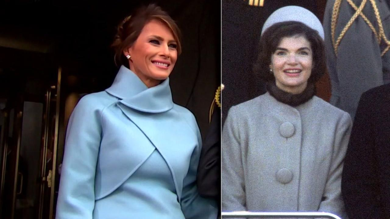 This is an undated split image of First Lady Melania Trump (left) and former First Lady Jacqueline Kennedy Onassis.