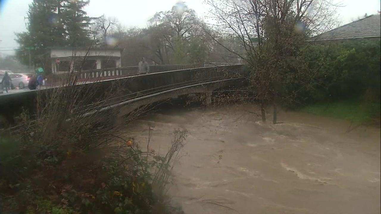 This is an image of the San Anselmo Creek during storms in January, 2017.