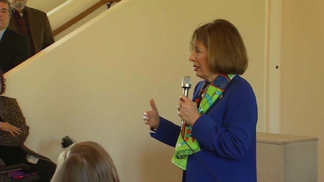 Rep. Jackie Speier is seen speaking at a town hall meeting in Pacifica, Calif. on Wednesday January 25, 2017.