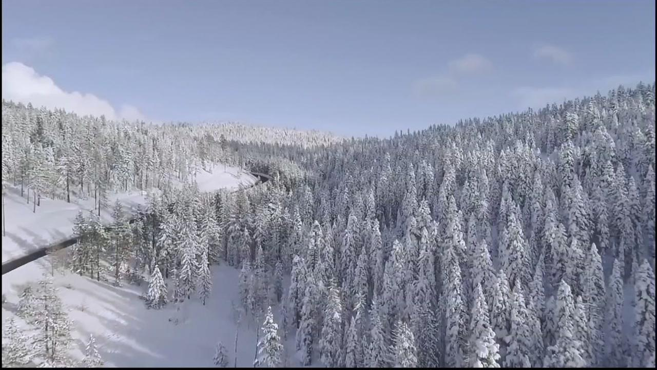 Drone captures incredible view of snowpack in the Sierra
