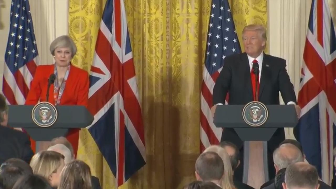 (Left) British Prime Minister Theresa May and (right) U.S. President Donald Trump hold joint news conference at White House, Washington, D.C. Friday, January 27, 2017.