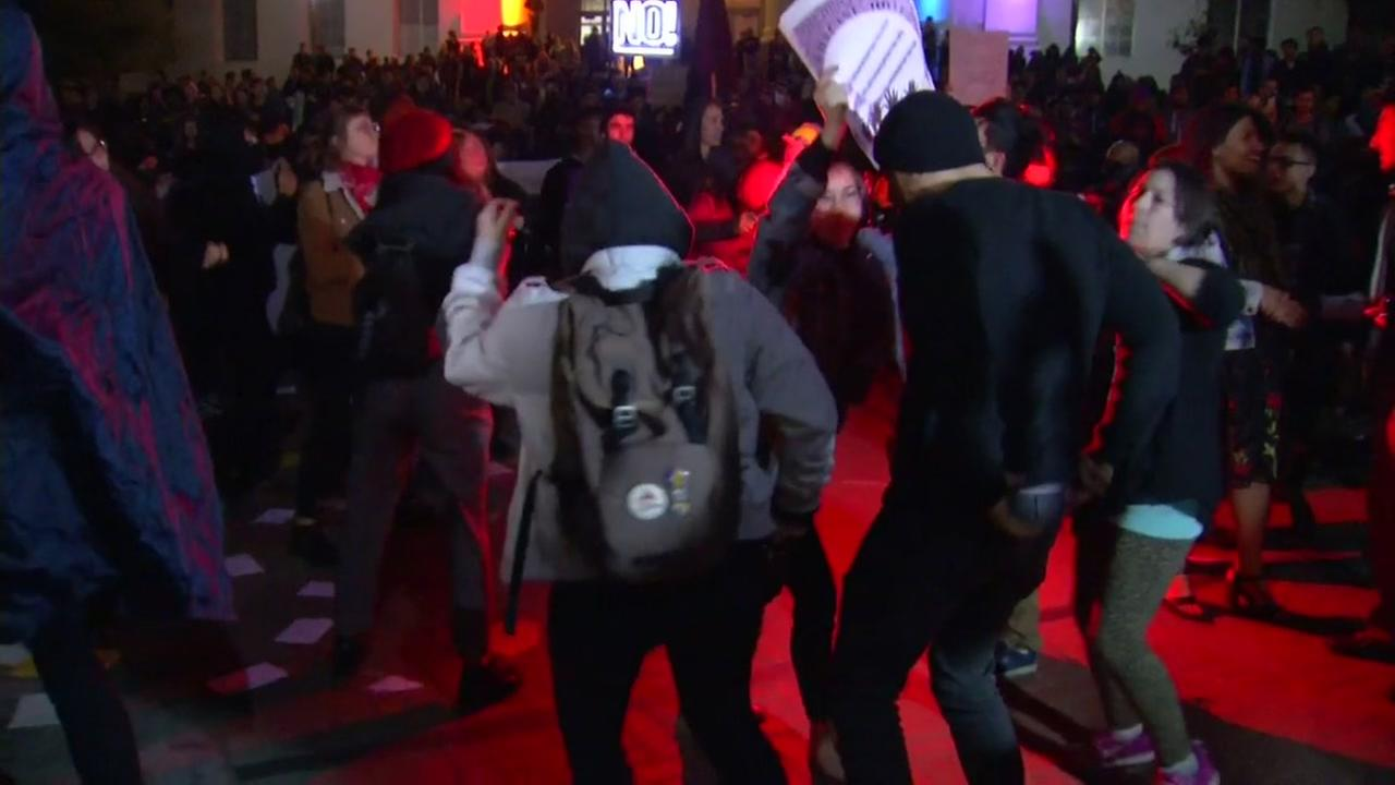 Protesters use dance party as protest at Berkeley