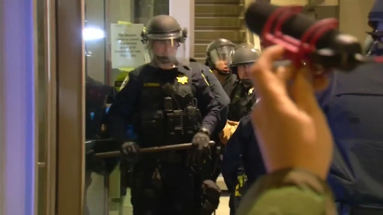 Police officers are seen at U.C. Berkeley after protests erupted on Feb. 1, 2017.