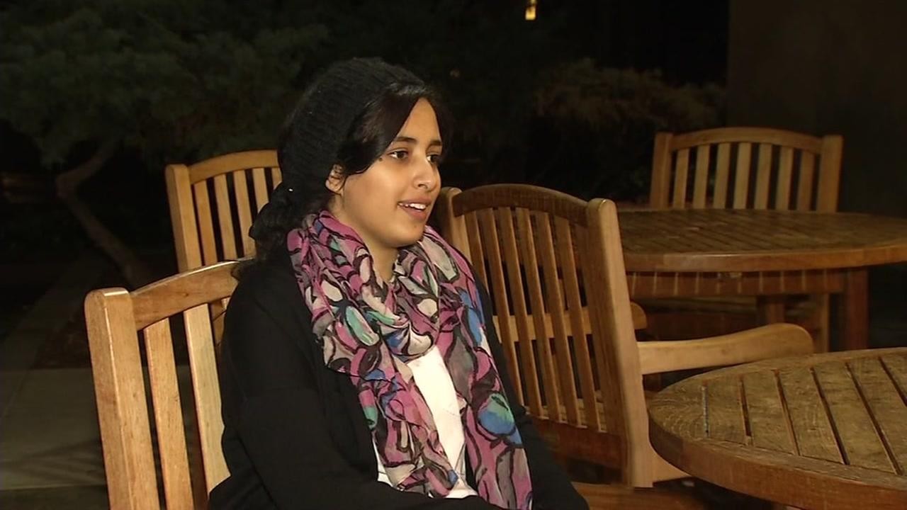 Hadil Al-Mowafak sits in an interview with ABC7 News on Feb. 3, 2017.
