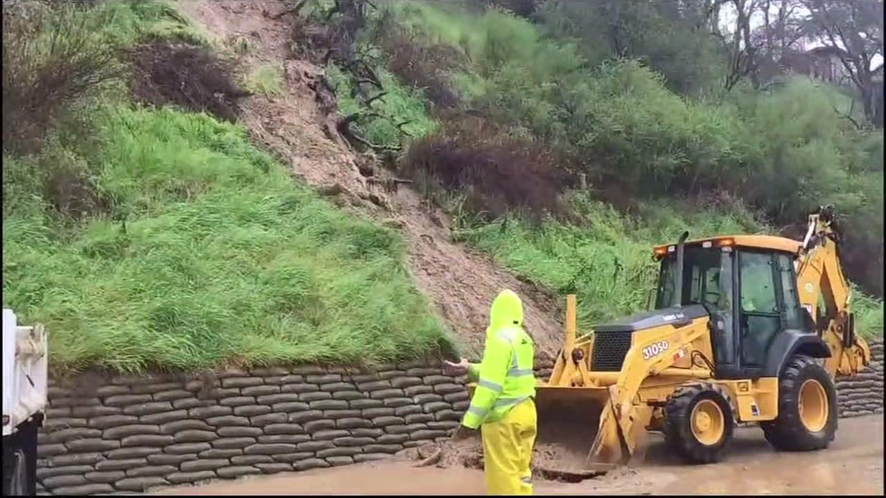 A landslide is seen in Los Gatos, Calif. on Tuesday February 7, 2017.