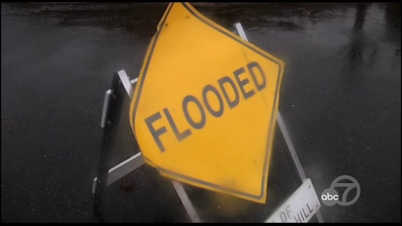 A sign warns people of flooding in Napa, Calif. on Feb. 7, 2017.
