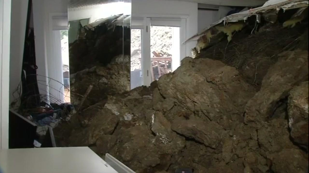 Orinda home severely damaged by mudslide, no one injured