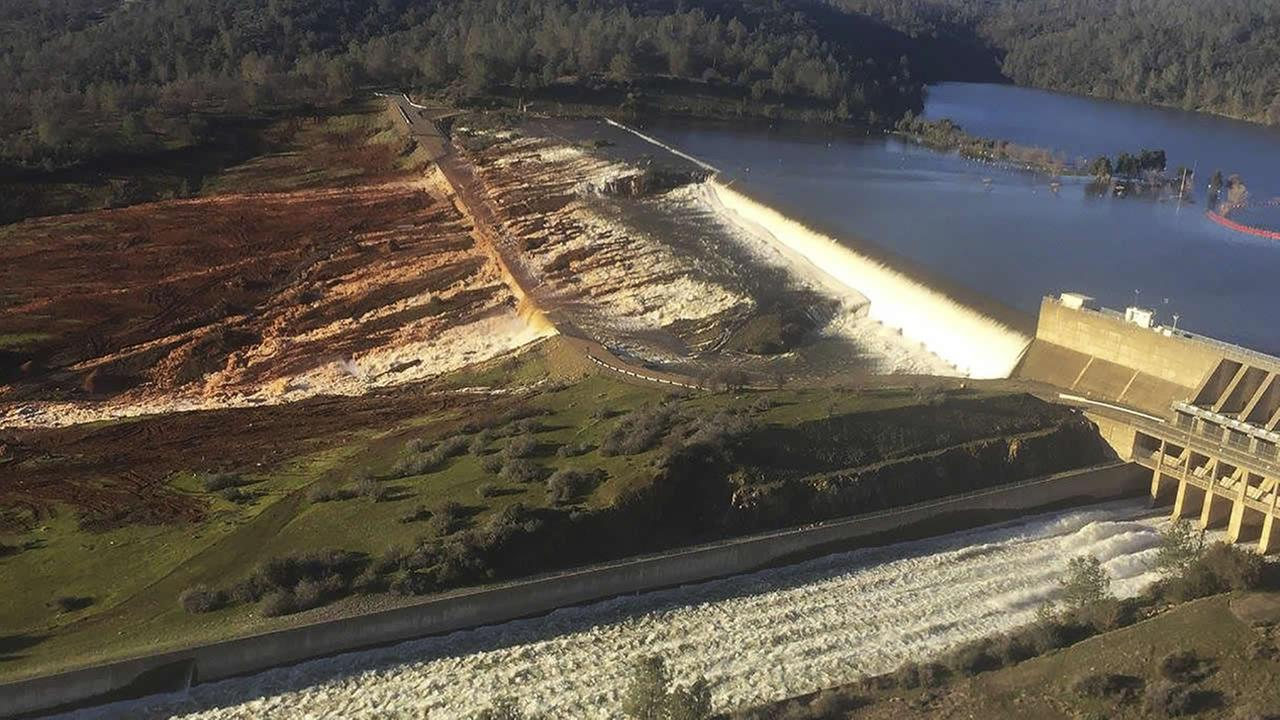 This Feb. 11, 2017, photo released by the California Department of Water Resources shows the main spillway of the Oroville Dam at Lake Oroville in Oroville, Calif. (AP Photo)