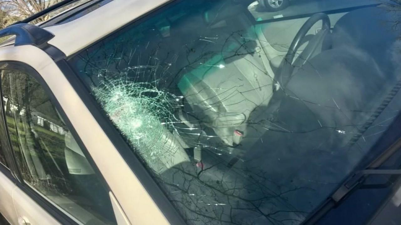 This is an undated image of vehicle damage done to a car in Gilroy, Calif.