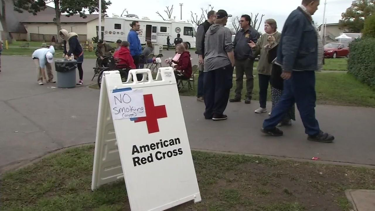 A Red Cross shelter is seen in this undated image.