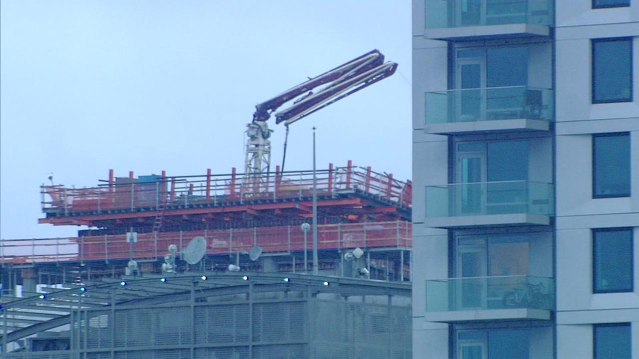 High-rise in under construction that triggered evacuations in San Francisco, Wednesday, February 15, 2017.