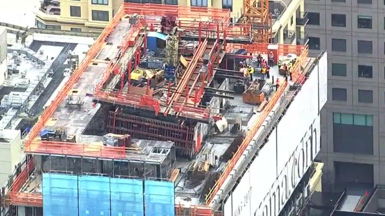 Work underway to remove leaning concrete slab in SoMa