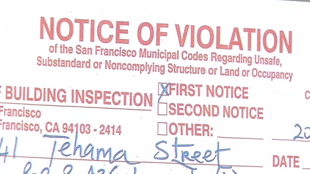 A notice of violation for a San Francisco construction project is seen in this undated image.