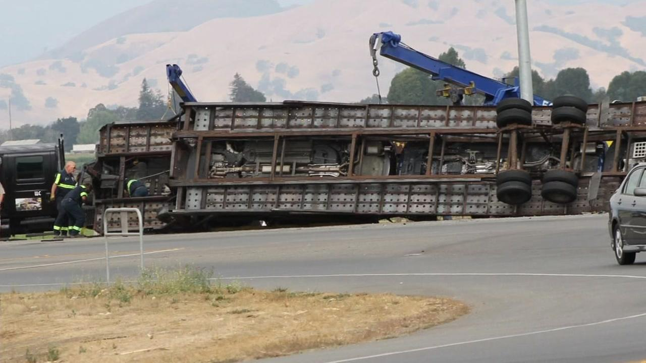 A big-rig rolls over in Gilroy, Calif. in 2016.