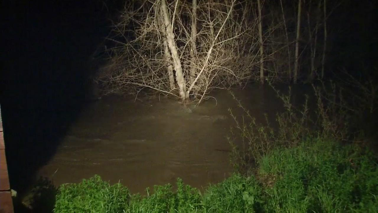 Coyote Creek in San Jose, Calif. is seen on the verge of spilling over its banks on Feb. 19, 2017.KGO-TV