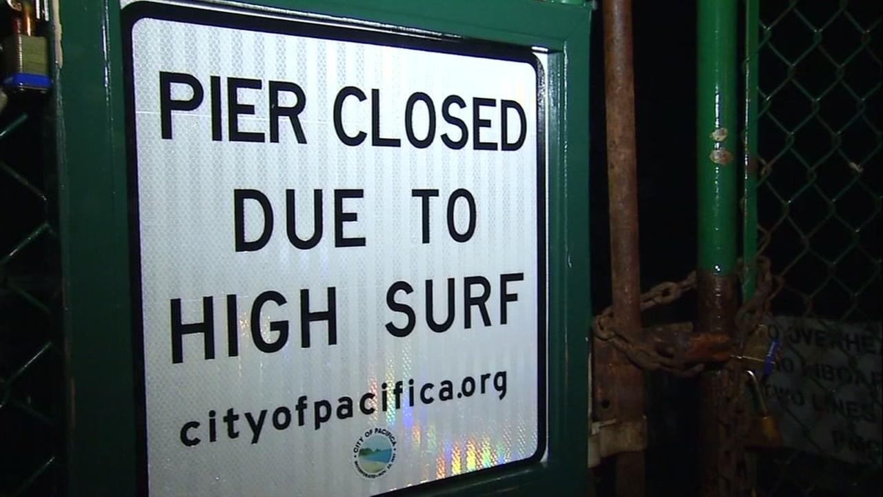 A strong storm prompted the closure of Pacifica Pier in Pacifica, Calif. on Feb. 20, 2017.
