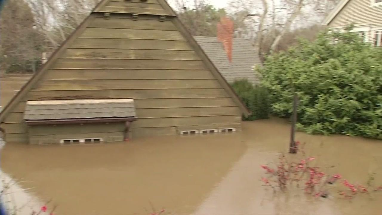 A home in San Jose is submerged under water after extreme flooding in the area on Feb. 21, 2017.KGO-TV