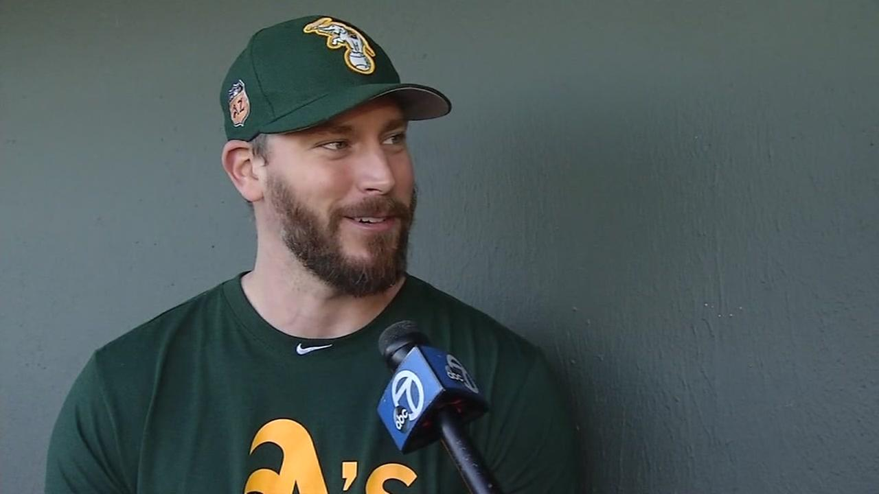 Movie super-fan and Oakland As pitcher John Axford gives his Oscars predictions to ABC7 Sports Mike Shumann on Feb. 23, 2017.