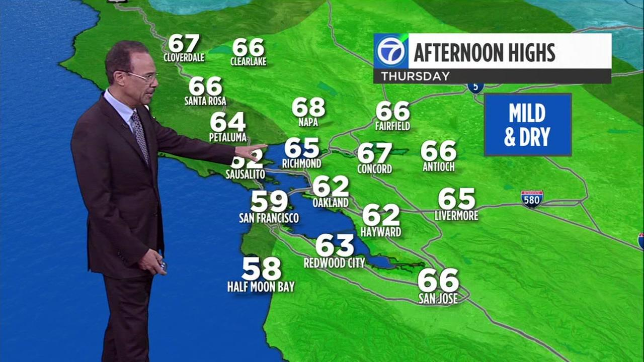 ABC7 News Weather forecast for Monday evening
