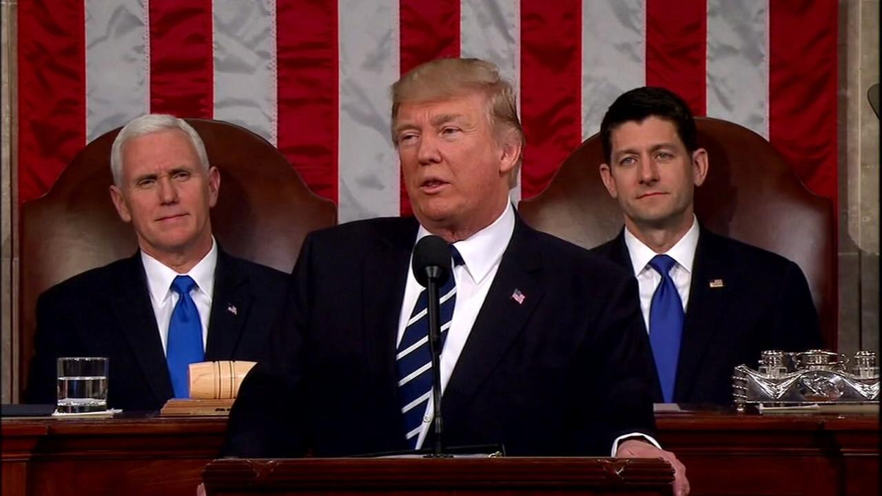 President Donald J. Trump addresses Congress in Washington on Feb. 28, 2017.
