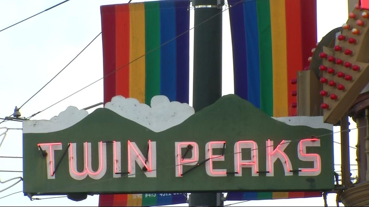 This is an undated image of the sign hanging outside of the Twin Peaks Tavern in San Francisco.