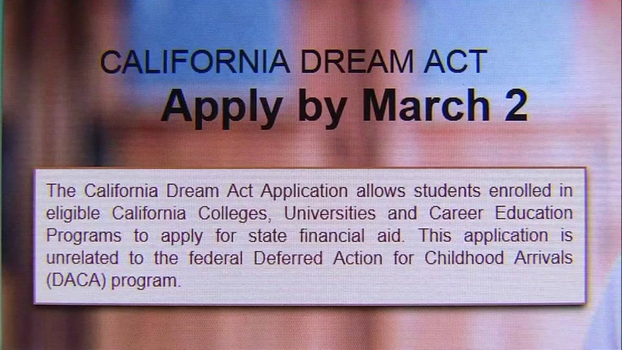 A website revealing the deadline to apply for the California Dream Act is seen in this image on Thursday, March 2, 2017.