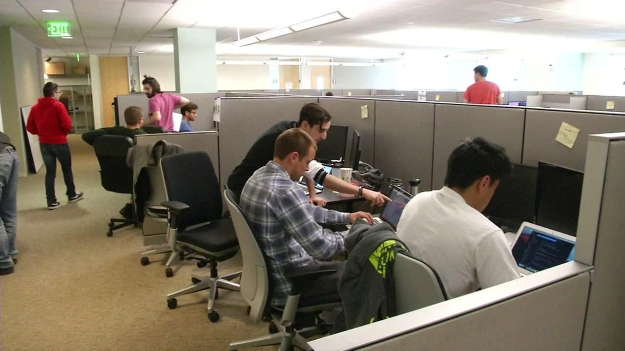 Workers are seen in a Silicon Valley office in this undated image.