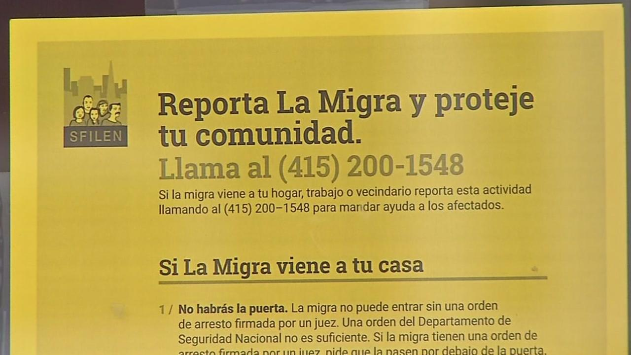 A flyer with information on the San Francisco ICE hotline appears in San Francisco on Mar. 3, 2017.