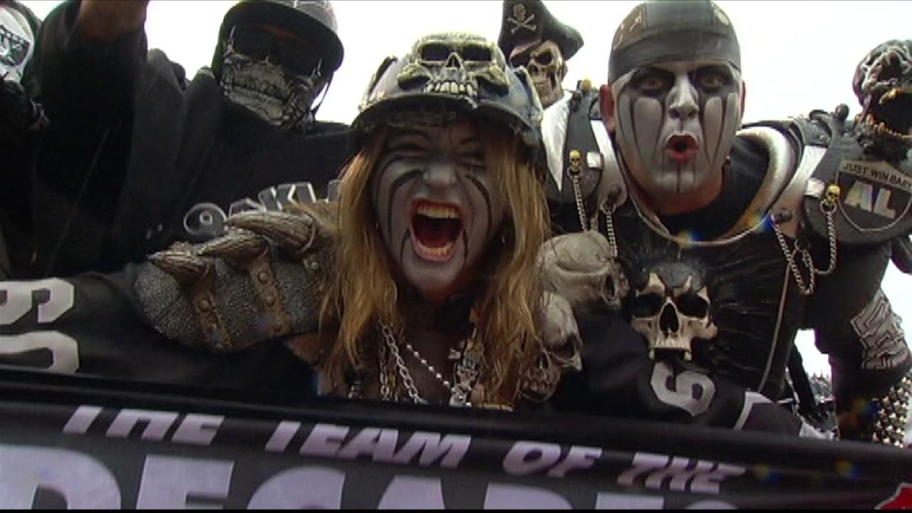 Oakland Raiders fans are seen in this undated image.