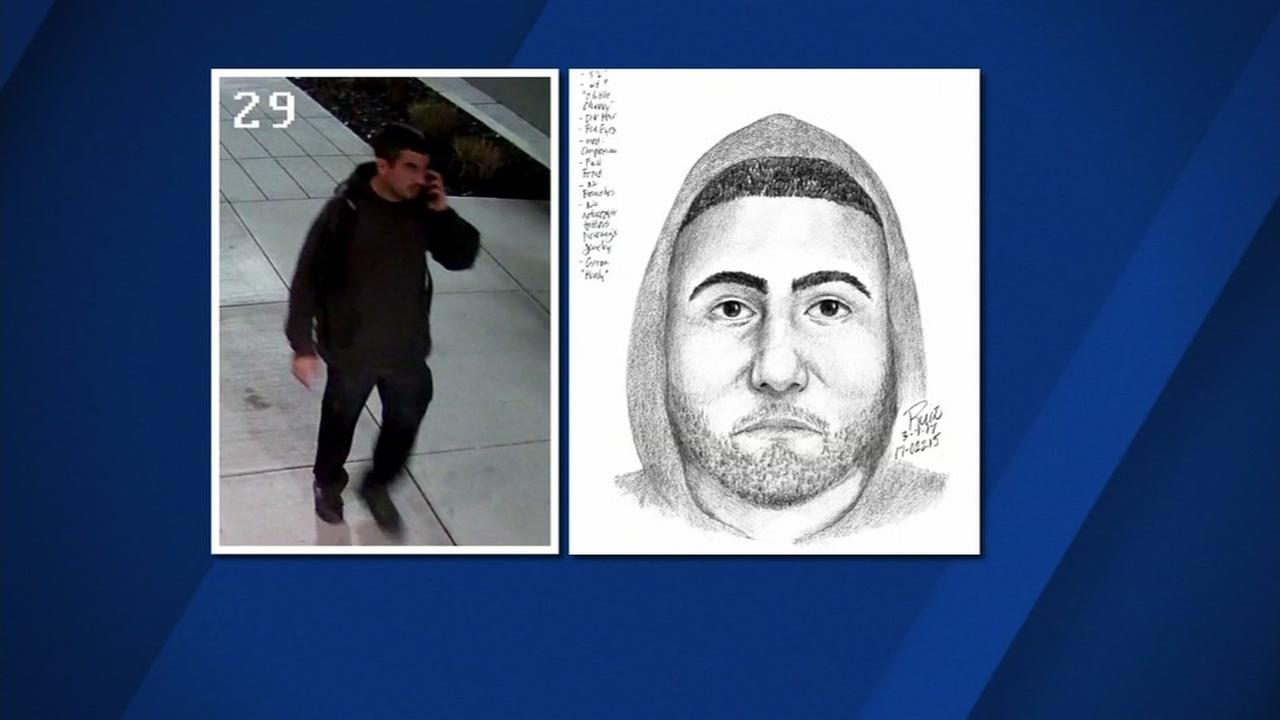 This is an undated police surveillance image and sketch released in connection with two Palo Alto sex assault incidents in March of 2017.