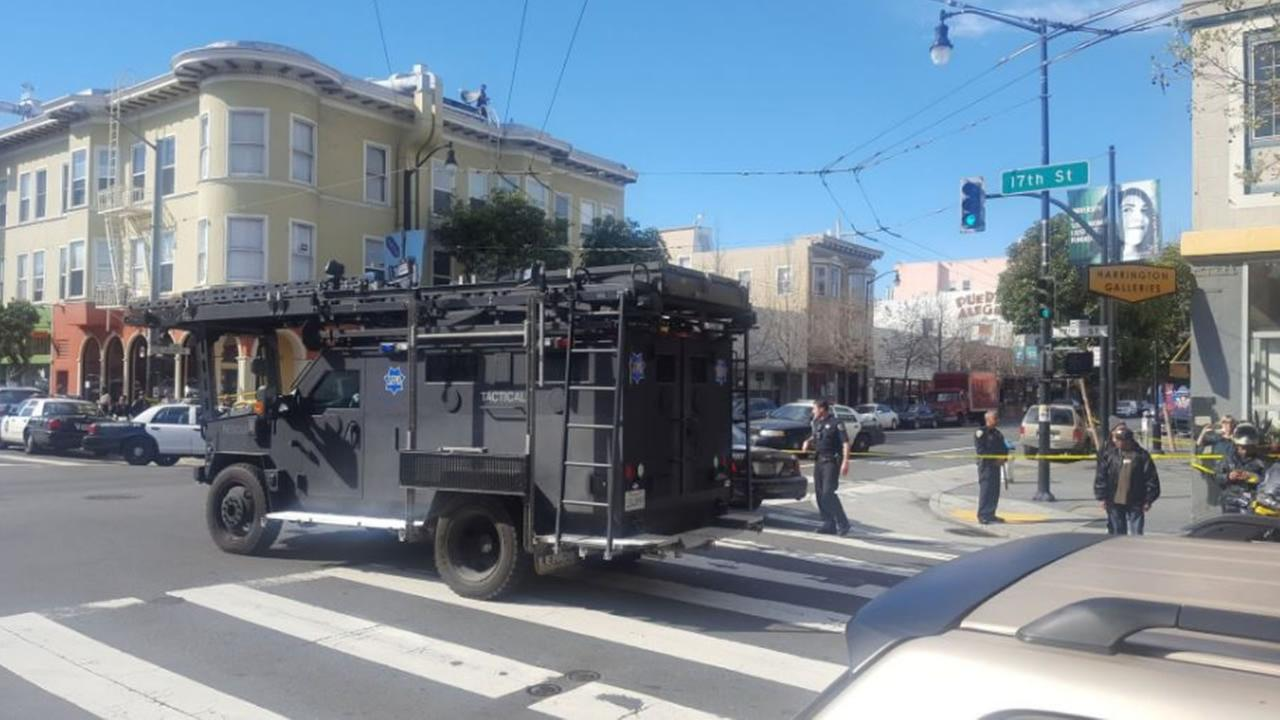 SFPDs bomb squad and tactical units are on the scene of an armed suspect barricaded inside a building in the Mission District on Friday, March 10, 2017.