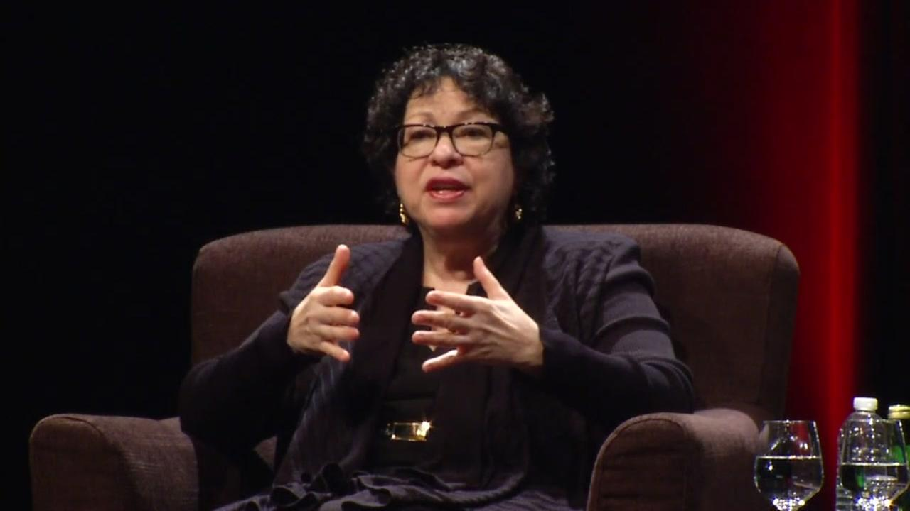Supreme Court Justice Sonia Sotomayor is seen speaking at Stanford University on Friday March 10, 2017.