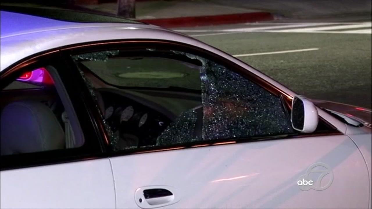 A car damaged in a shooting on a Bay Area freeway is seen in this undated image.