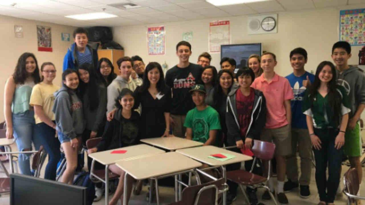 ABC7 News Anchor Kristen Sze is seen with a class at Aragon High School in San Mateo, California on Friday March 17, 2017