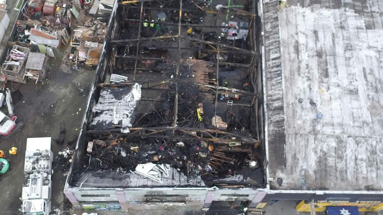 FILE - This undated file photo provided by the City of Oakland shows inside the burned warehouse after the deadly fire that broke out on Dec. 2, 2016, in Oakland, Calif. (AP Photo)