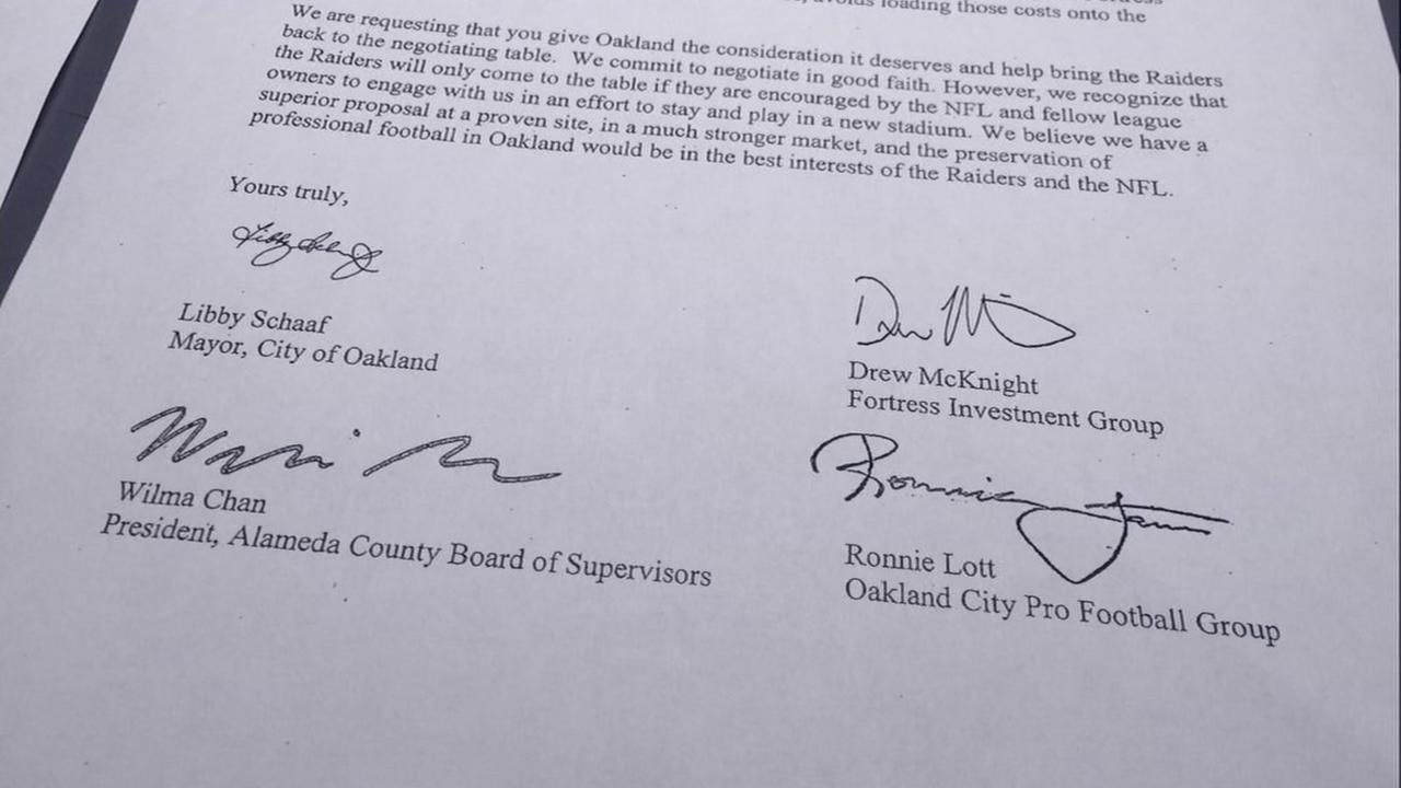 A letter from the city of Oakland to NFL team owners is seen on Friday March 24, 2017.