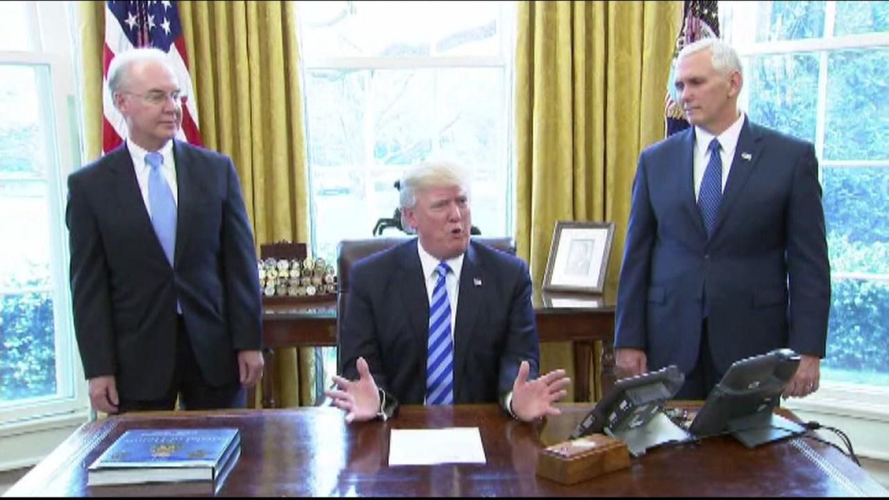 President Donald Trump is seen in the Oval Office on Friday March 24, 2017.