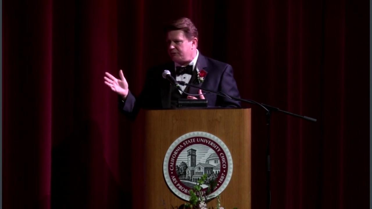ABC7s Michael Finney is seen speaking at Chico State University on Friday March 24, 2017.