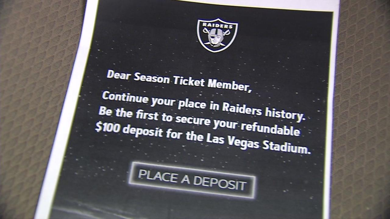 A letter sent to Oakland Raiders season ticket holders is seen in this undated image.