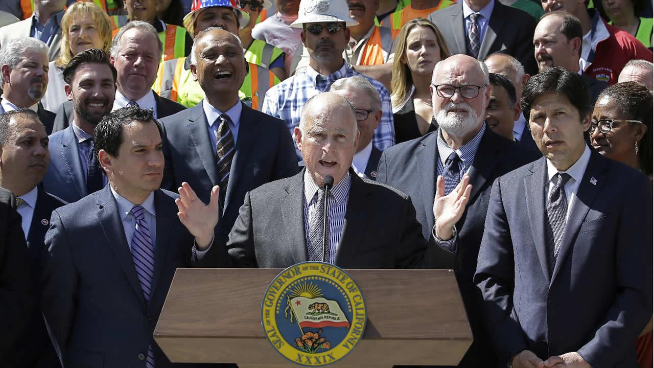 Calif., Gov. Jerry Brown, discusses a plan to raise $52 billion to fix California roads, during a news conference on March 29, 2017, in Sacramento, Calif. (AP Photo)