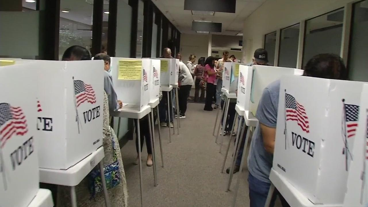 Voting booths in Santa Clara County are seen in this undated image.