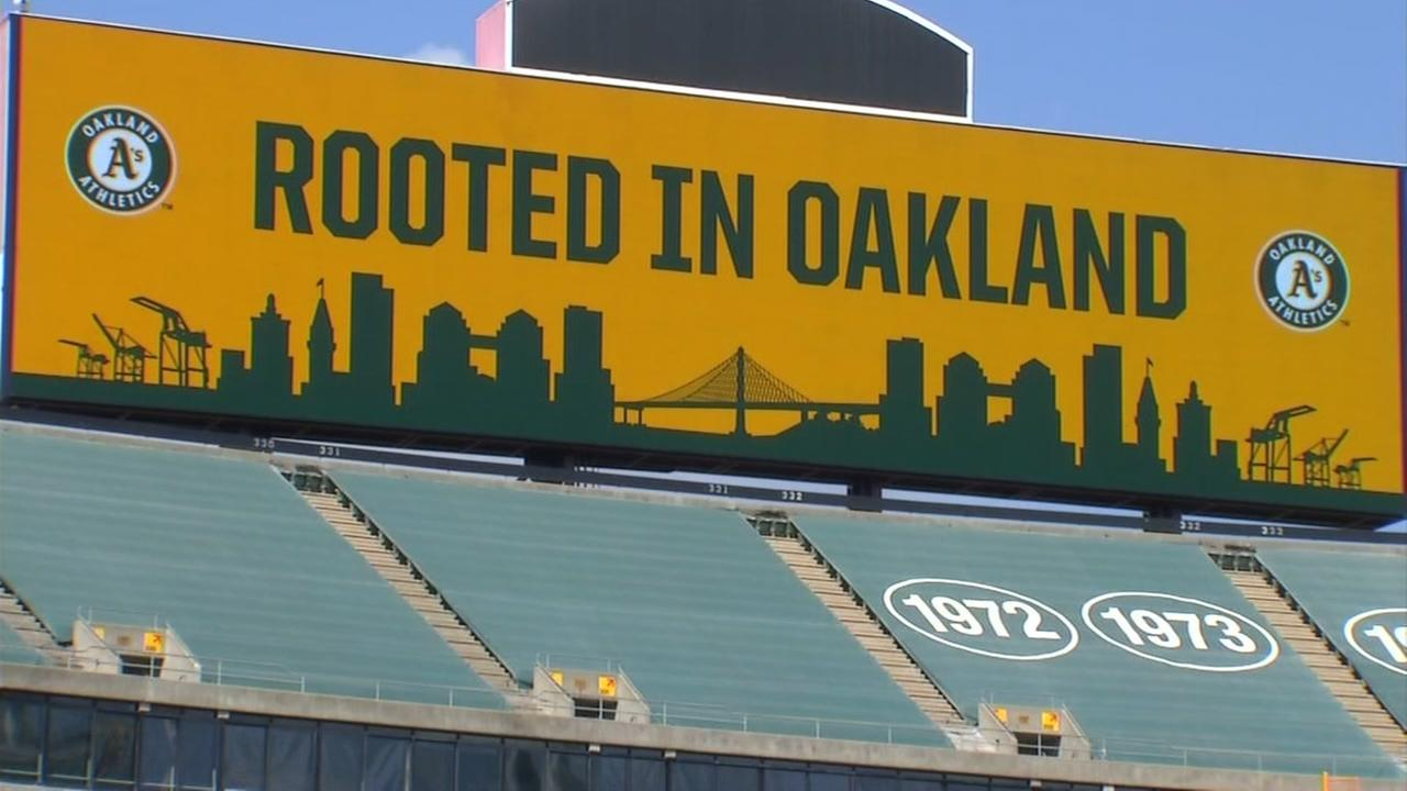 A sign is seen at the Oakland Coliseum in Oakland, Calif. in this undated image.