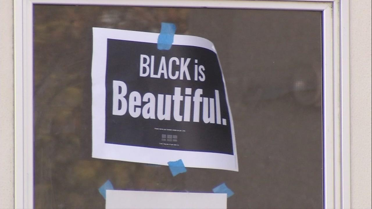 A sign reading Black is Beautiful is seen at a high school in Albany, California on Friday March 31, 2017.
