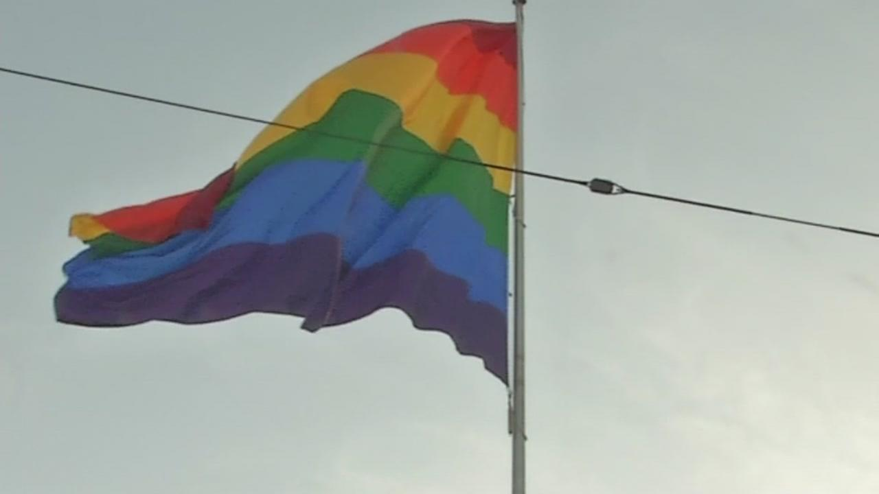 A rainbow flag flies in San Franciscos Castro neighborhood in honor of its creator, Glibert Baker, who died on Friday, March 31, 2017.