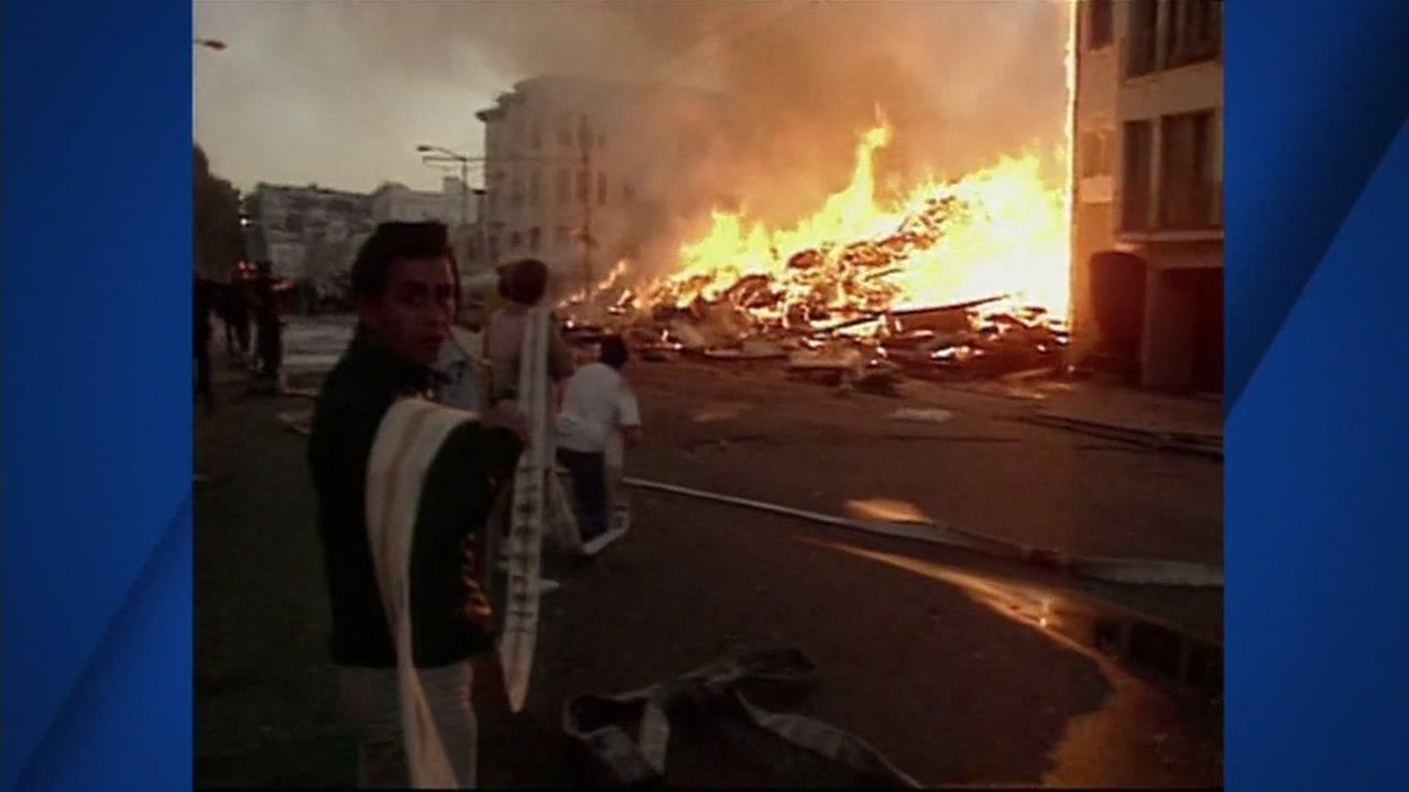 A fire is seen after the 1989 Loma Prieta Earthquake in San Francisco.
