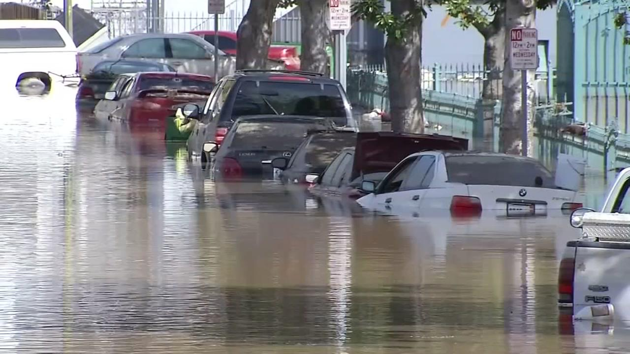This is an undated image of cars caught in the San Jose floods of Feb., 2017.