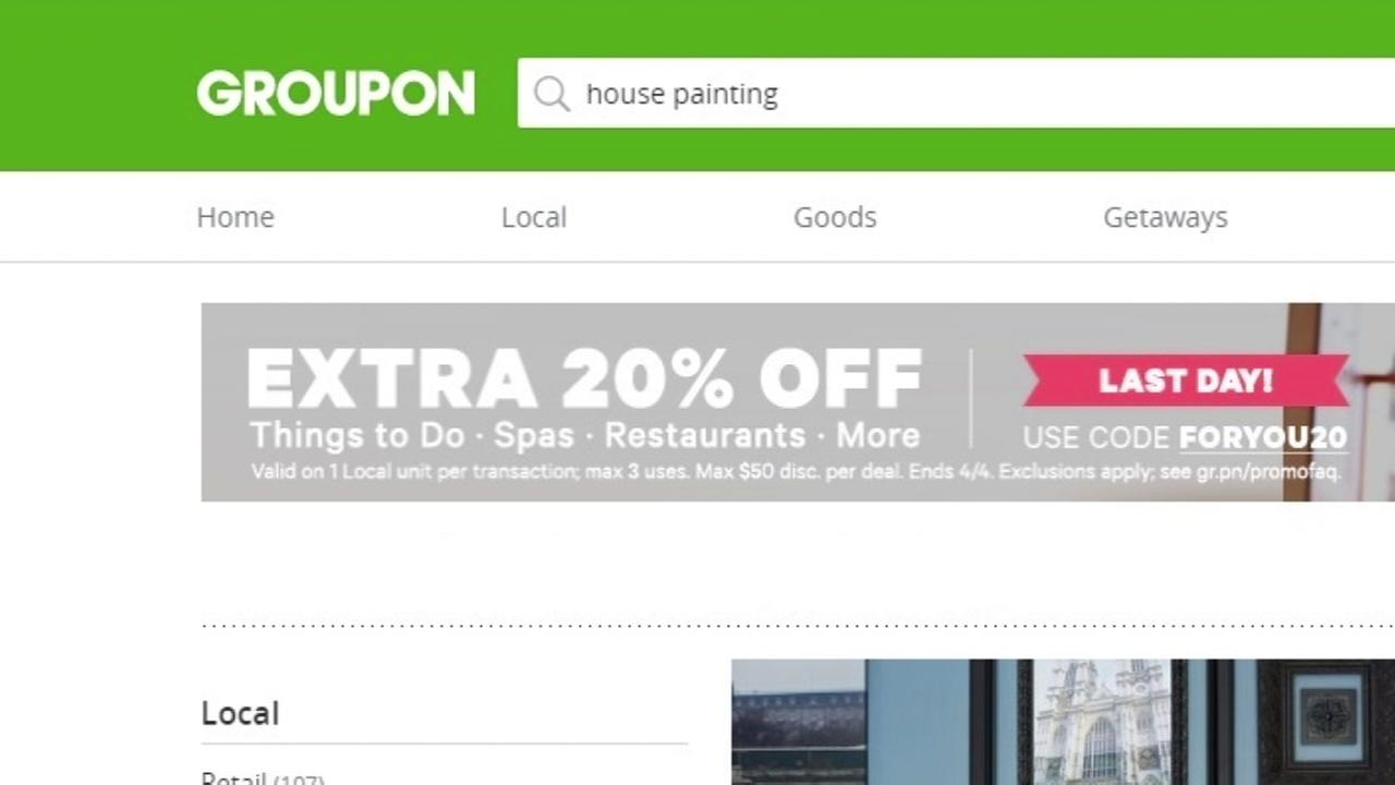 This is an undated image of the Groupon website.